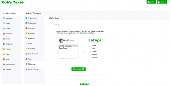 Mailchimp Interface LoTops CRM