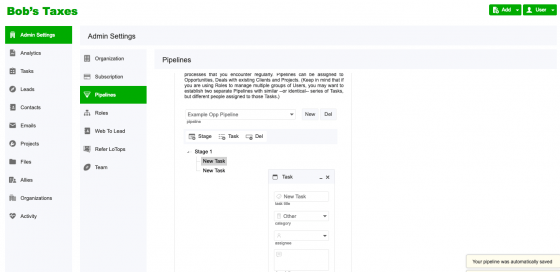 LoTops CRM New Example Pipeline Task