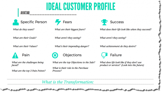 ideal customer profile sheet